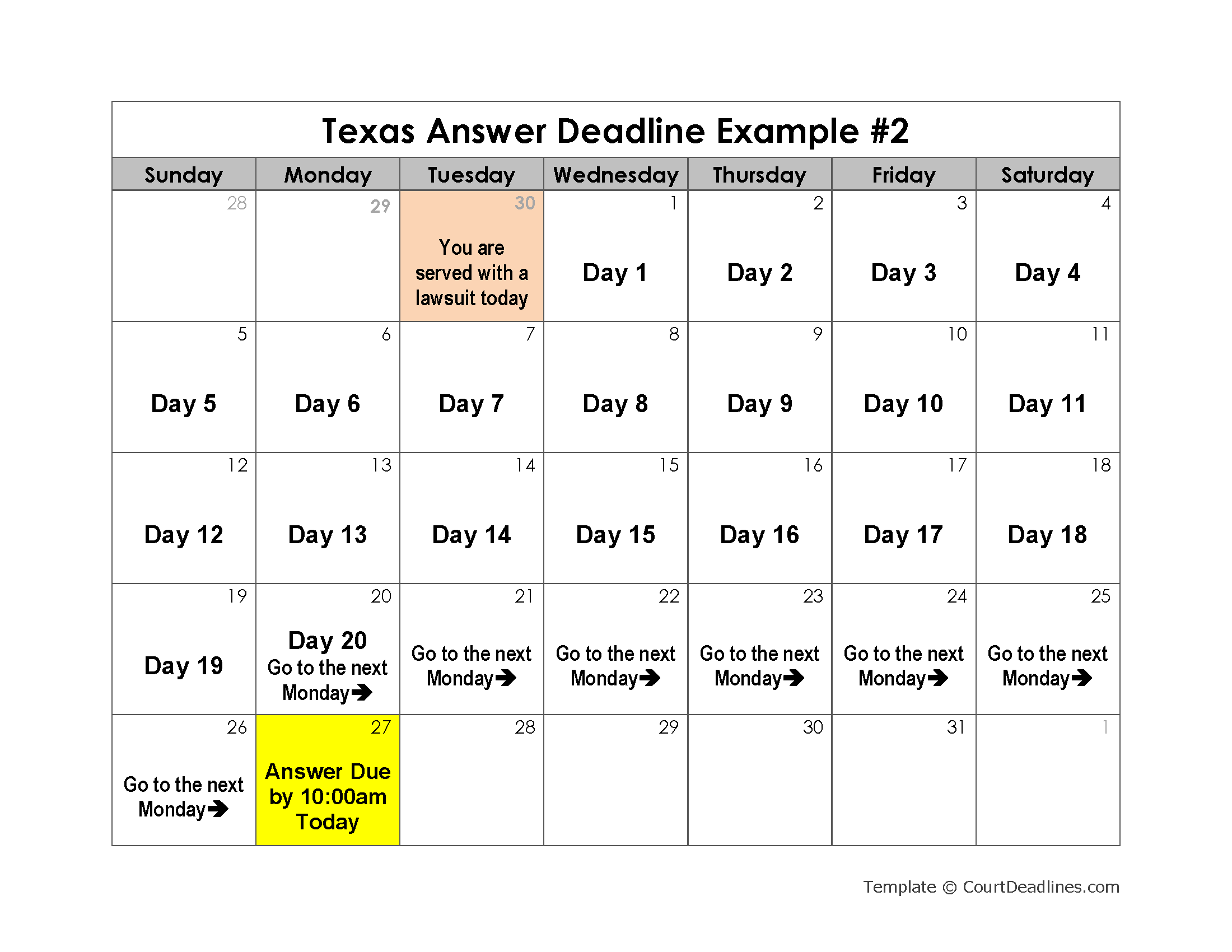 Texas Answer Deadline Example 2