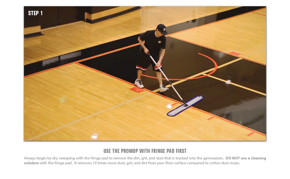 GYM FLOOR CLEANING STEP 1  USE THE PROMOP WITH FRINGE PAD
