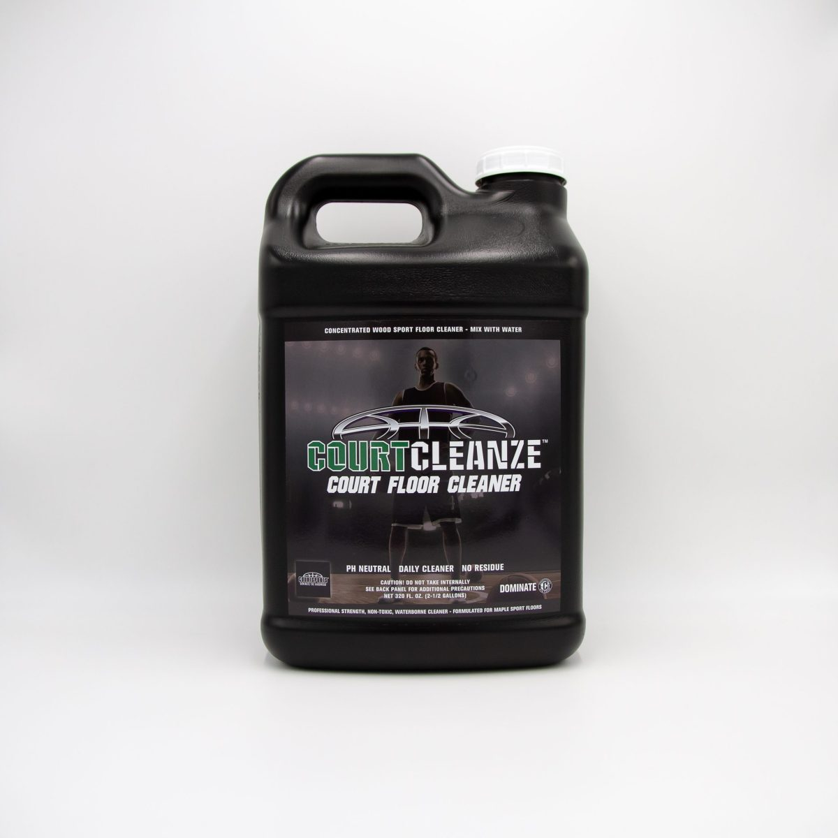 COURTCLEANZE COURT FLOOR CLEANER CONCENTRATE - TO DAMP CLEAN BASKETBALL GYMNASIUM FLOORS - 2.5 GALLONS