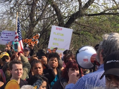 An April 28, 2017, speech by U.S. Attorney General Jeff Sessions drew dozens of protesters to Central Islip, New York. (Photo by Adam Klasfeld, CNS)