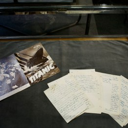 Hand-written 40-folio first-hand testimony by Helen Churchill Candee, an American survivor of the Titanic, is displayed prior to the auction of the Aristophil Collections, in Neuilly-sur-Seine, west of Paris, on Nov. 14, 2017. Thousands of French private investors, victims of an alleged pyramid scheme, hope to get some of their stake back when a huge collection of rare and valuable manuscripts begin to be auctioned in Paris next month by court order. (AP Photo/Thibault Camus)