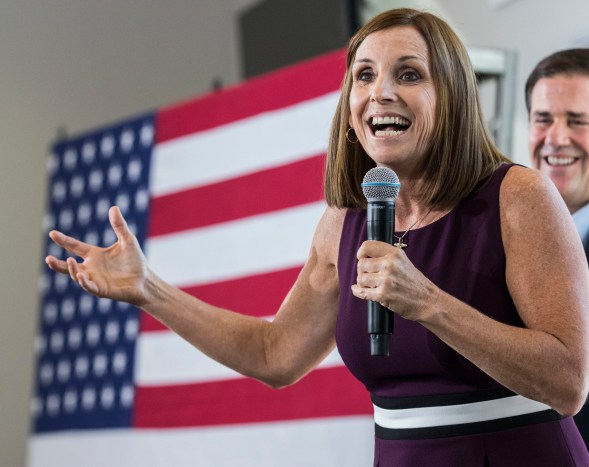 Before her Senate office, Martha McSally is seen here as a freshman Arizona congresswoman, addressing constituents at a Get Out the Vote rally in Gilbert, Ariz., on Oct. 12, 2018. (AP Photo/Darryl Webb, file)