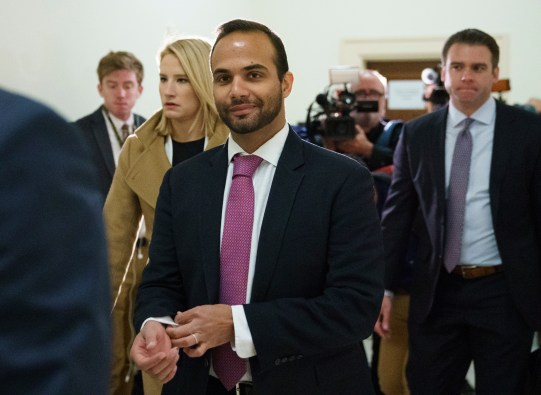 George Papadopoulos, the former Trump campaign adviser who triggered the Russia investigation, arrives for his first appearance before congressional investigators, on Oct. 25, 2018, in Washington. (AP Photo/Carolyn Kaster, File)