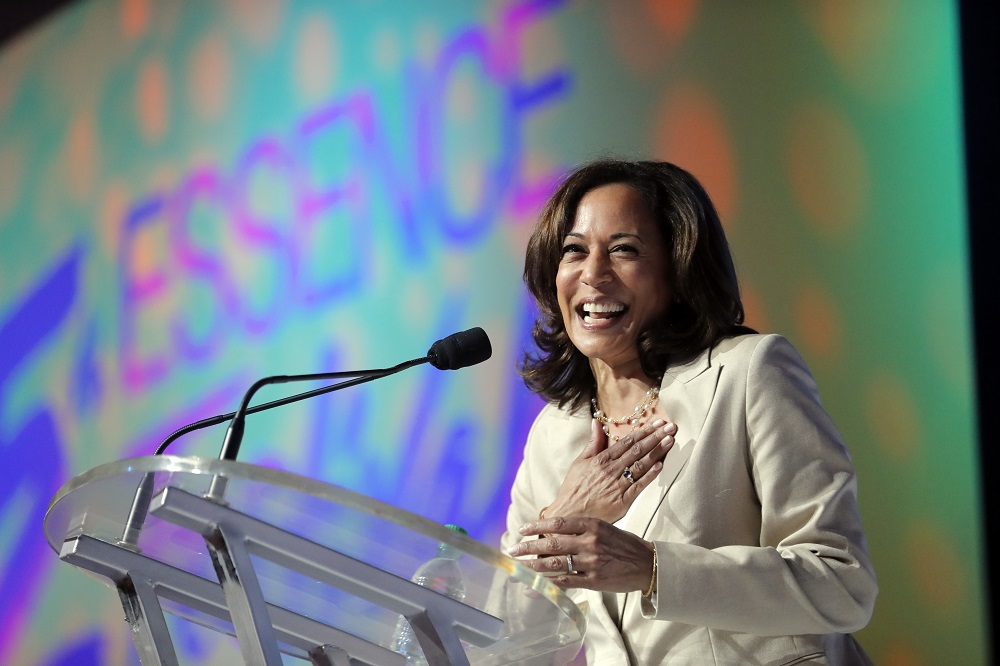 Democratic presidential candidate, Sen. Kamala Harris, D-Calif., speaks at the 25th Essence Festival in New Orleans, Saturday, July 6, 2019. (AP Photo/Gerald Herbert)