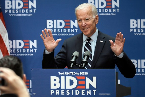 Democratic 2020 presidential candidate Joe Biden arrives to deliver a foreign policy address at the CUNY Graduate Center in New York on on July 11, 2019. (AP Photo/Bebeto Matthews)