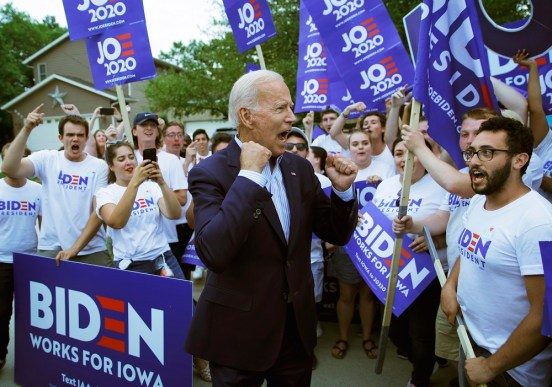 Former Vice President Joe Biden meets with supporters on Aug. 9, 2019, before speaking at the Iowa Democratic Wing Ding at the Surf Ballroom, in Clear Lake, Iowa. (AP Photo/John Locher)
