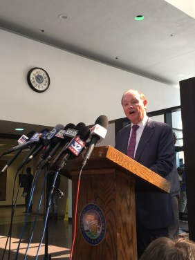 Dan K. Webb, an attorney with the law firm Winston & Strawn LLP, speaks to the press Friday after a judge appointed him as a special prosecutor in an investigation of how Cook County prosecuted actor Jussie Smollet for what it called a hate-crime hoax. (Photo by LISA KLEIN/Courthouse News Service)