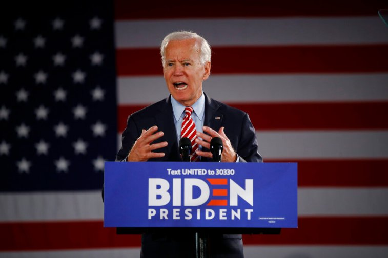 Former Vice President Joe Biden speaks during an Oct. 23, 2019, campaign event in Scranton, Pa. (AP Photo/Matt Rourke)