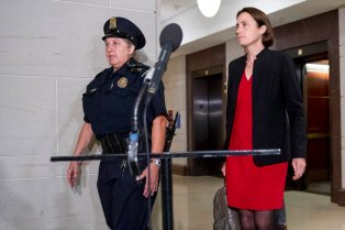 Former White House advisor on Russia, Fiona Hill, arrives on Capitol Hill on Oct. 14, 2019, as she is scheduled to testify before congressional lawmakers as part of the House impeachment inquiry into President Donald Trump. (AP Photo/Andrew Harnik)