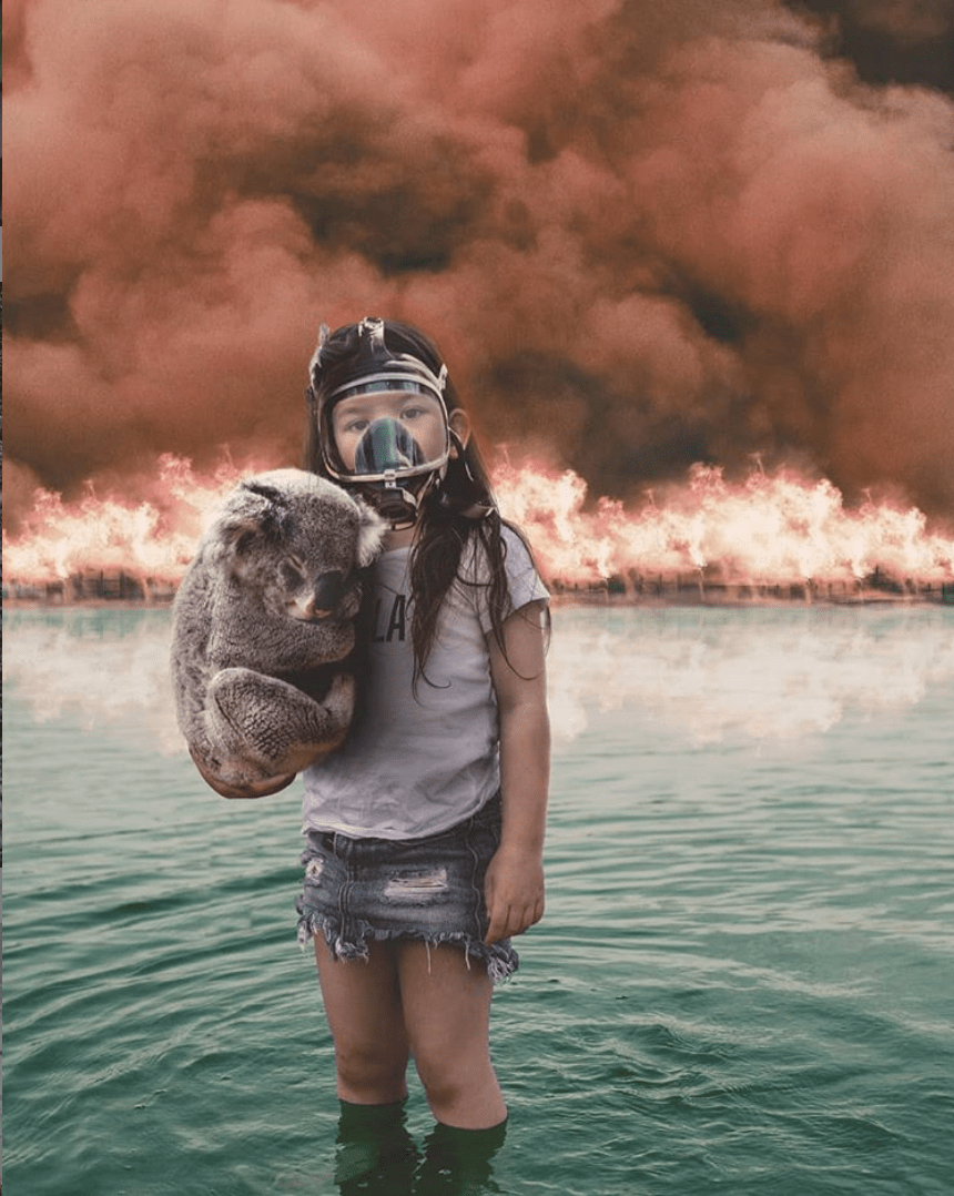 "This photo was published to Twitter on Jan. 7, 2020, with the caption: ""Image is more powerful than screams of Greta. A silent girl is holding a koala. She looks straight at you from the waters of the ocean where they found a refuge. She is wearing a breathing mask. A wall of fire is behind them. I do not know the name of the photographer #Australia."" A reverse image search on Google shows the image was first published by the artist Thuie on Dec. 22, 2019, having digitally altered a photo of her daughter as artistic expression. This image was published to Facebook on Jan. 5, 2020, purporting to credit the photo as one from the ongoing Australian wildfires shared by the University of Sydney. it actually shows a stuffed tiger after it was set ablaze by Indonesian authorities in 2012, originally published in 2012 by Shutterstock Editorial. (Image via CNS)"