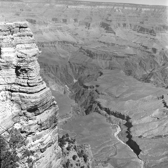 Peering into the abyss at the Grand Canyon, circa 1960 (Walt Girdner photo)