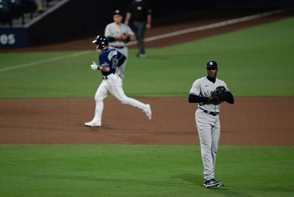 Chapman served up a season-ending home run to Mike Brosseau, giving the Yankees another early postseason exit.