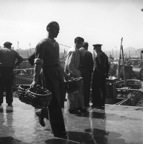 Walt Girdner loved to go fishing and often took his camera to the fishing docks. This scene is from San Sebastian in the Basque region of Spain, around 1960. From the Europe collection.