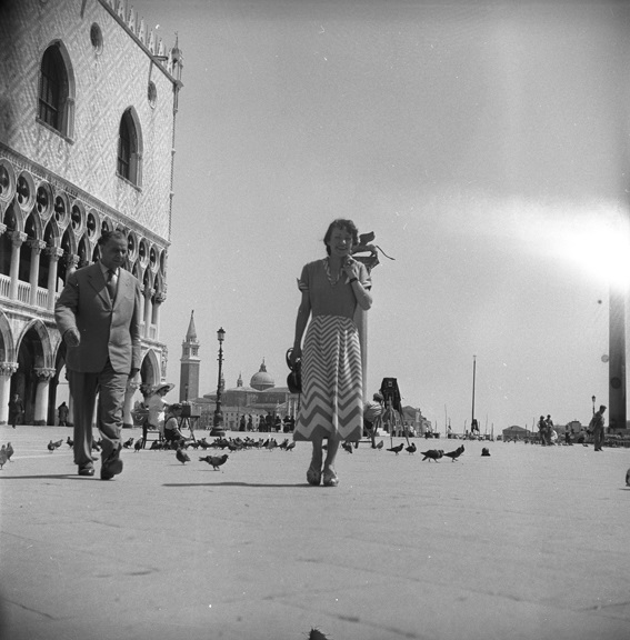 Strolling next to the Doge's Palace in Venice. St. Mark's Basilica and square can be seen in the background. From Walt Girdner's Europe collection.