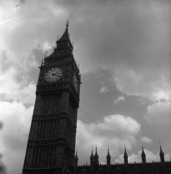 Big Ben hangs above the Palace of Westminster in a stormy London sky. From Walt Girdner's Europe collection.