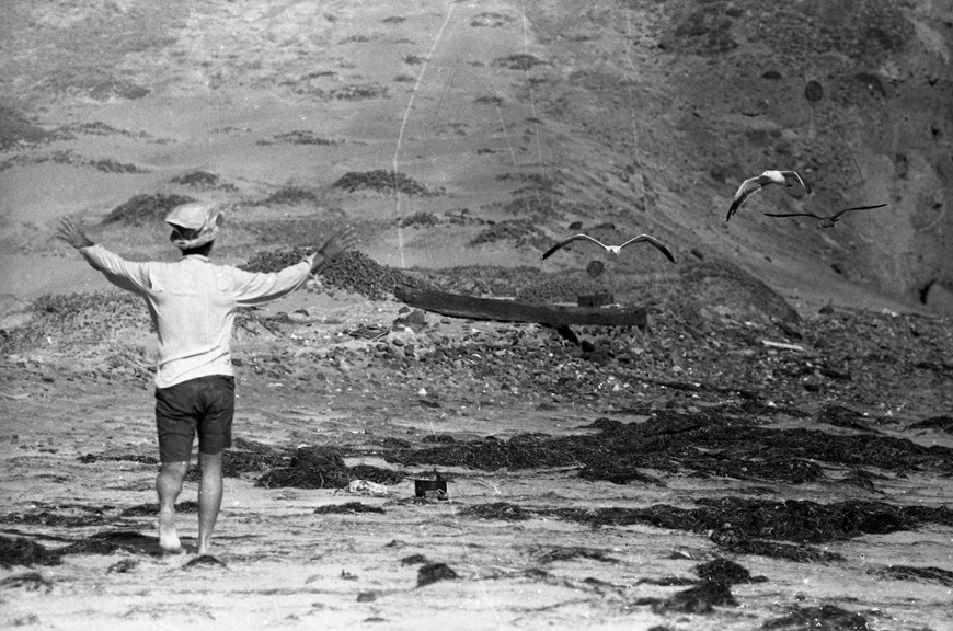 Waving the gulls away in Baja, circa 1967. From Walt Girdner's Mexico collection.