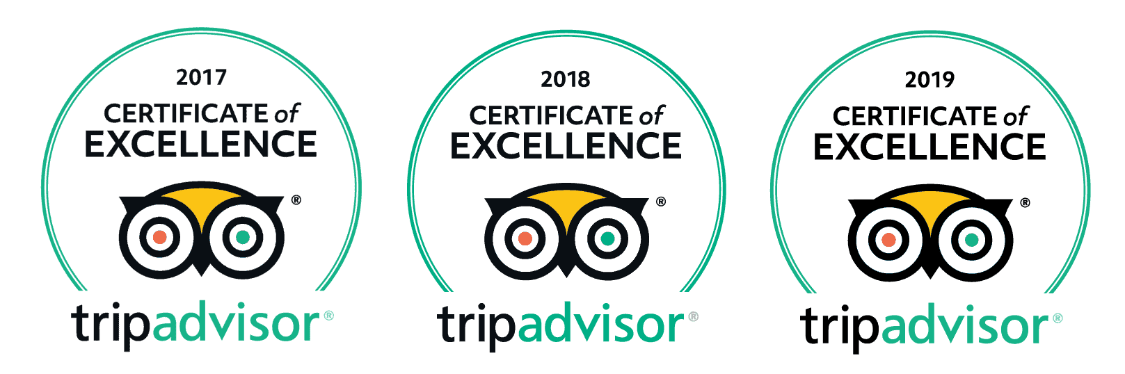 Trip Advisor-Certificate-of-Excellence 2017 2018 2019