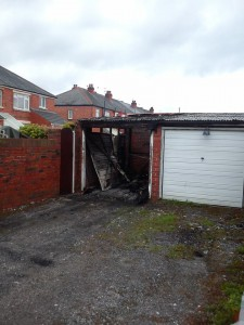 Burnt out garage after arson attack