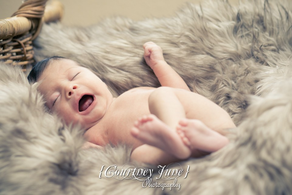 newborn photographer photographing a newborn laughing in a furry rug