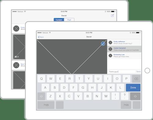 Decidr Wireframes iPad