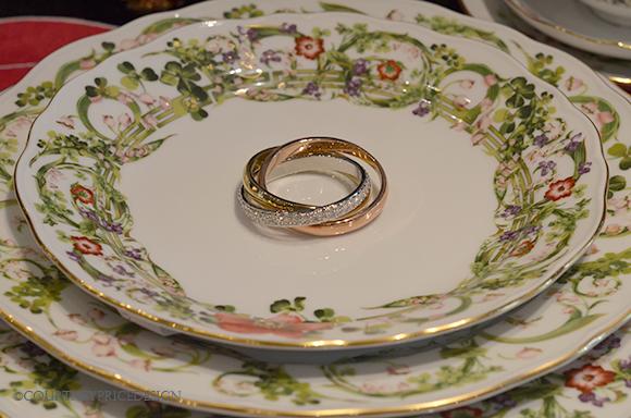 China place setting, napkin ring, beautiful fine china, green and white china