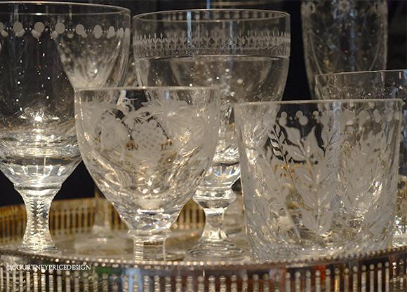 crystal glasses, water glasses, cocktail glasses
