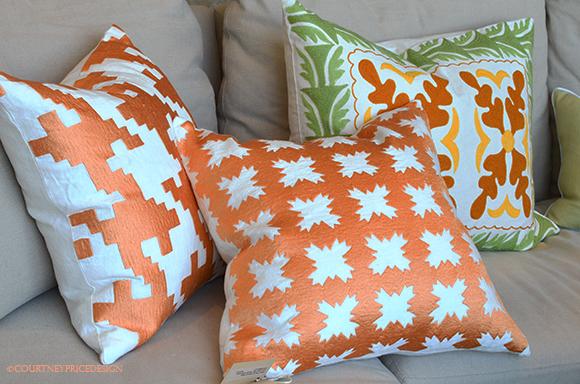 Bright decorative pillows, orange pillows, green pillows