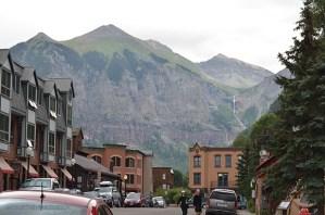 downtown telluride, mountain backdrop, mountain view