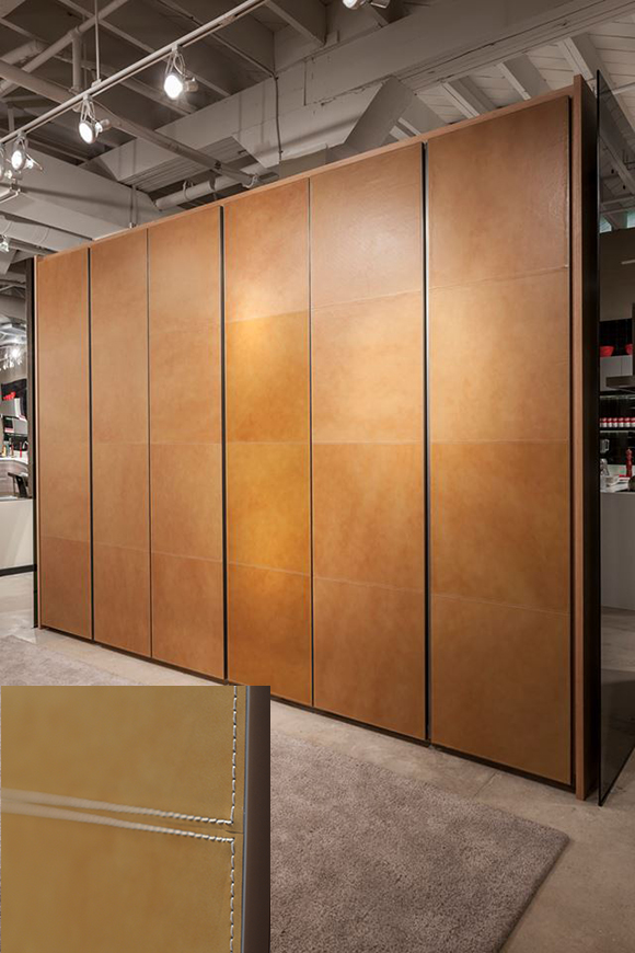 Leather Closet doors, Hand Stitched, Ornare, custom closet