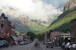 Telluride downtown, Colorado Avenue, clouds after the rain