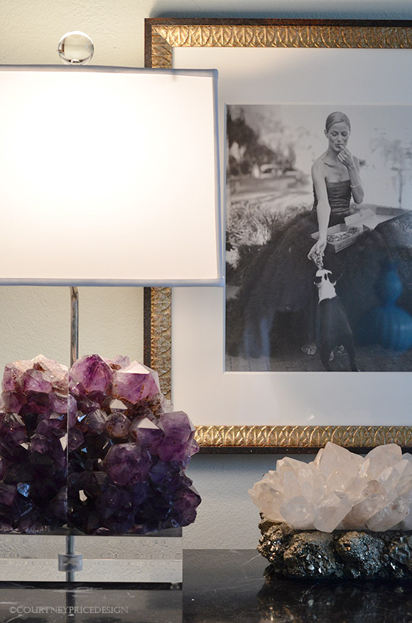 Amethyst lamp and quartz pyrite box on www.CourtneyPrice.com