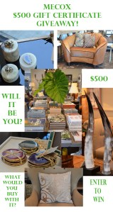 Mecox Giveaway, $500 gift certificate, home decor, shopping spree, interior design