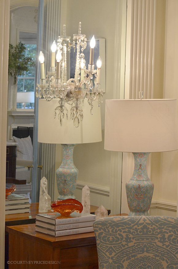 Blue Print, contemporary furnishings, sconce, mirrored wall, high gloss white paint- as seen on www.CourtneyPrice.com