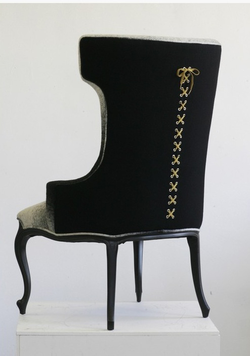 corset chair, sexy chair, modern wingback chair,