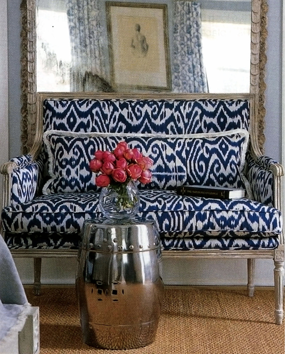 Ikat pattern, Madeline Weinrib fabric, upholstery on www.CourtneyPrice.com