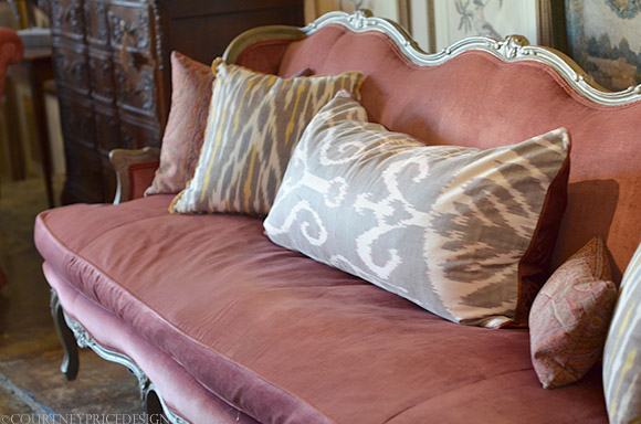 antique sofa ikat pillows on www.CourtneyPrice.com