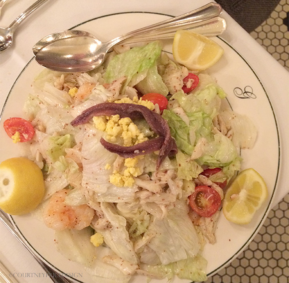 Godchaux salad from Galatoires, New Orleans, on www.CourtneyPrice.com