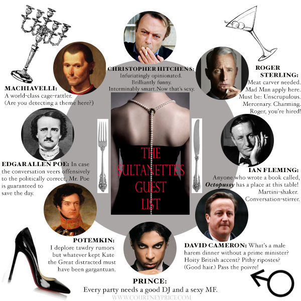 The Sultanette's fantasy dinner VIP List: who made it past the Sultanette's Velvet Ropes?  Read entire interview on www.CourtneyPrice.com