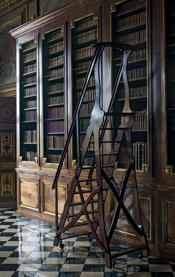 The library installed in the second half of the eighteenth century by the Choiseul-Praslin family.  ©Bruno Ehrs