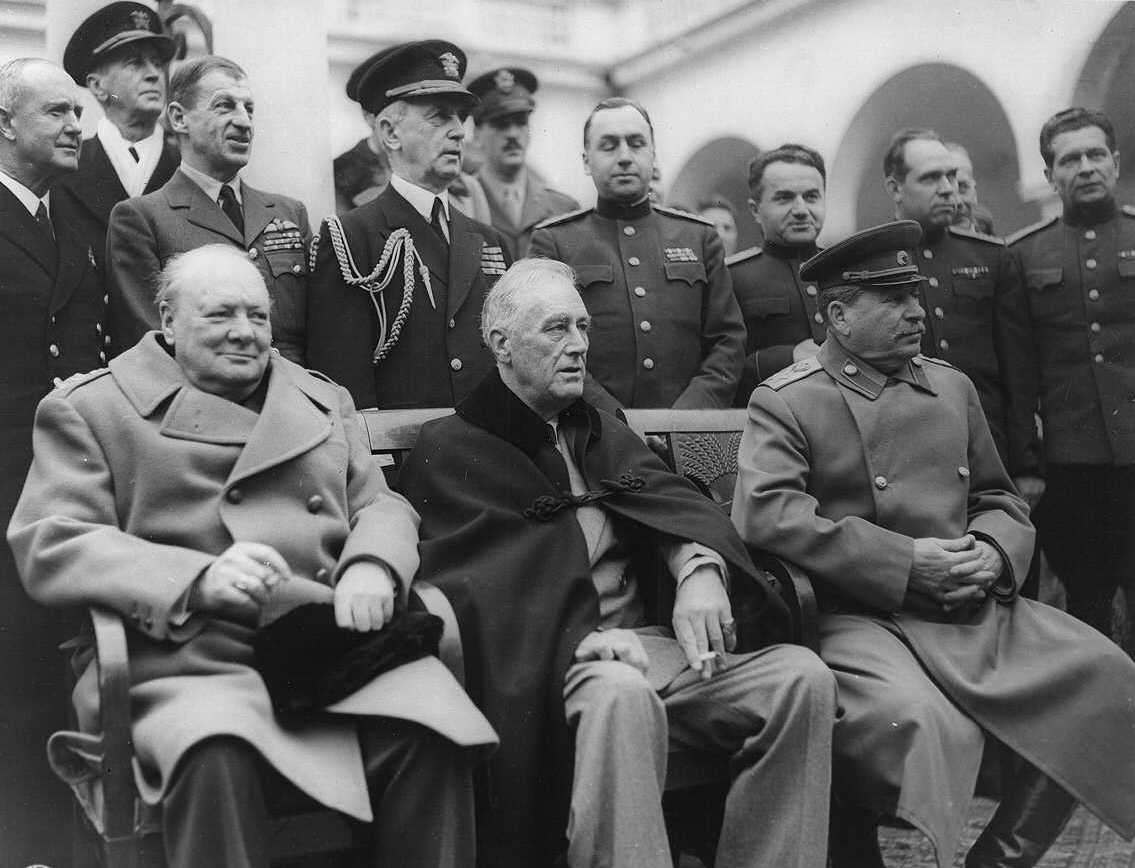 Winston Churchill, Franklin D. Roosevelt and Joseph Stalin at Yalta