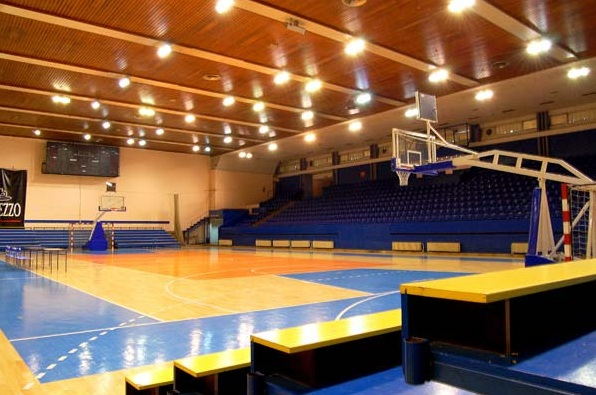 Sumice Sports Center, home court of Radnicki BC as it is today. No fan tier in the hidden side of the court