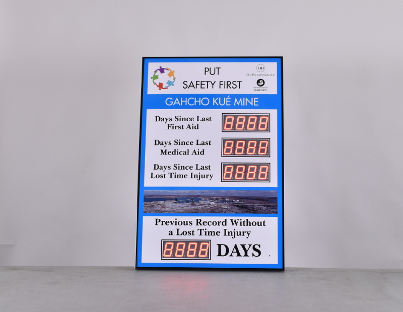 Days Since Last Accident Sign with Four Displays