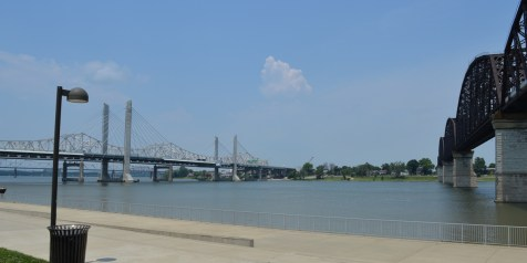 Road bridge with the foot bridge on the right across the Ohio river in Louisville