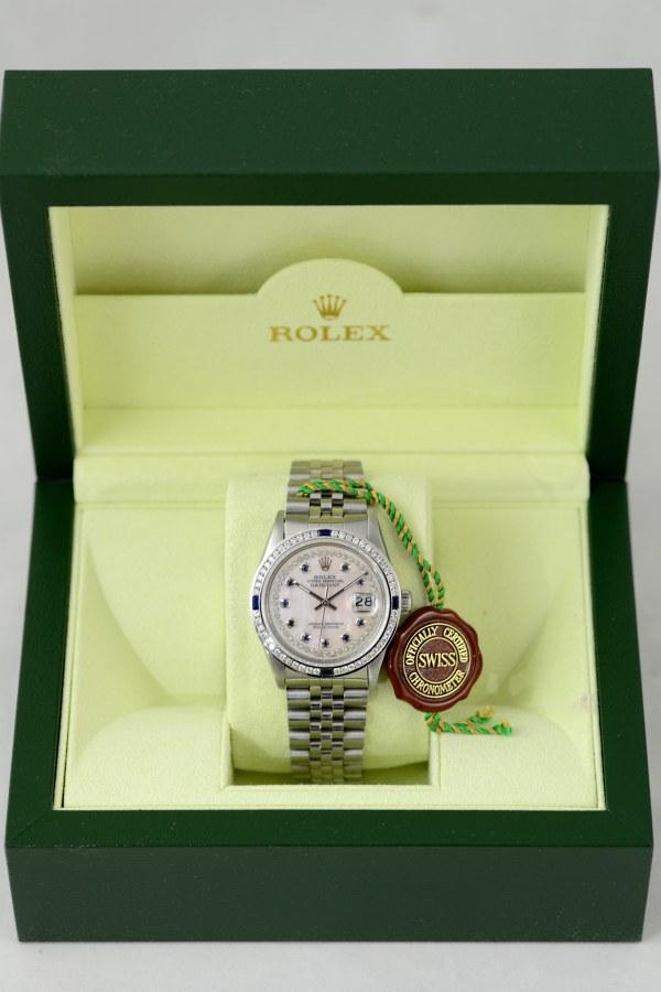 Rolex Datejust mit Perlmutt Zifferblatt in Ros Diamanten