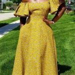Ankara gown yellow color image