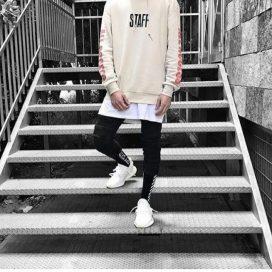 black joggers white sneakers sweatshirt streetstyle image