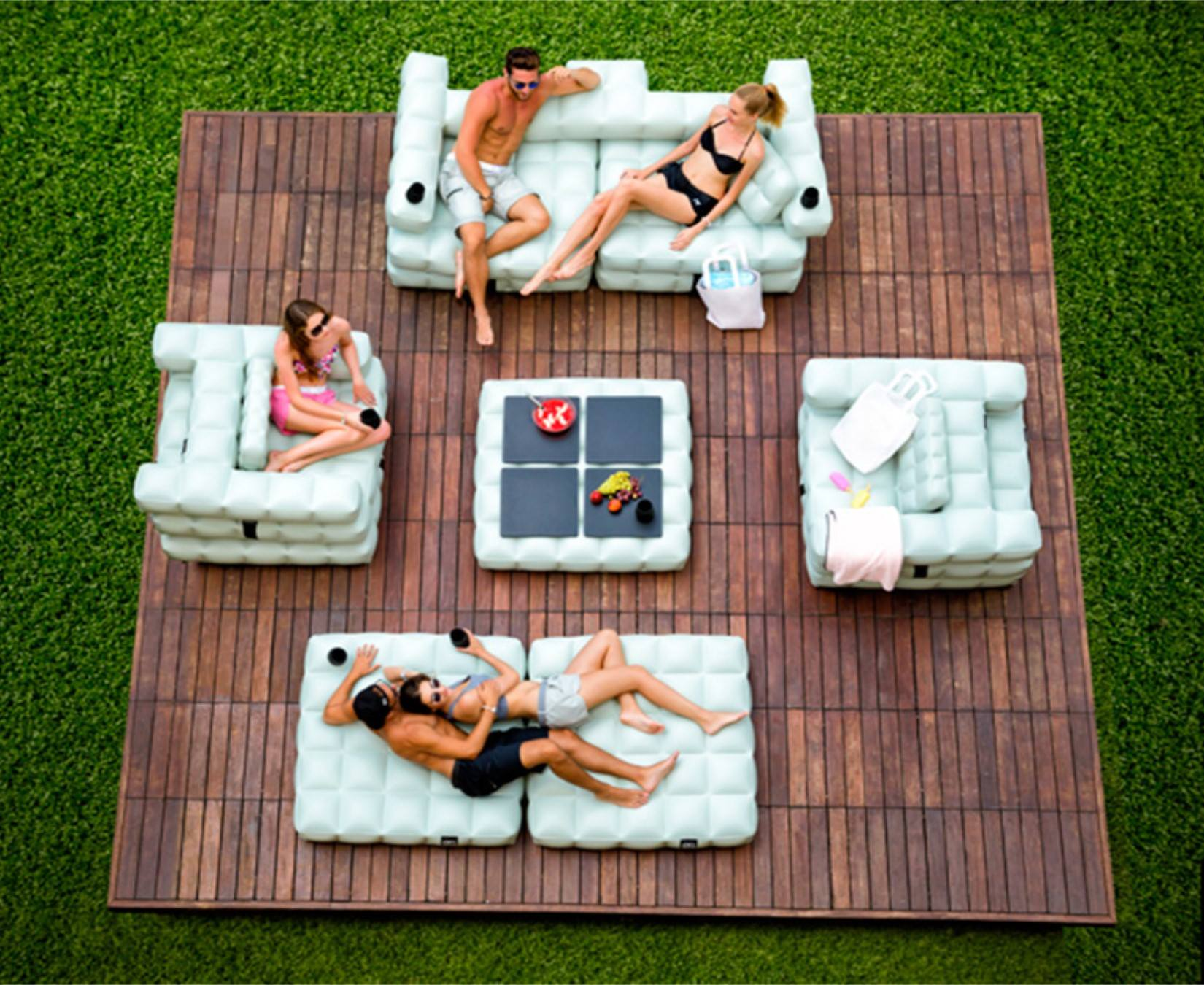 inflatable lawn chair desk london floating oasis pool furniture couture outdoor