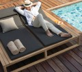 Modern Teak Double Single Daybed Cushion Barn Style Contract Hotels Pool Side