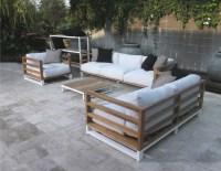 Modern Aluminum Teak Black White 3 Seater Sofa Patio ...
