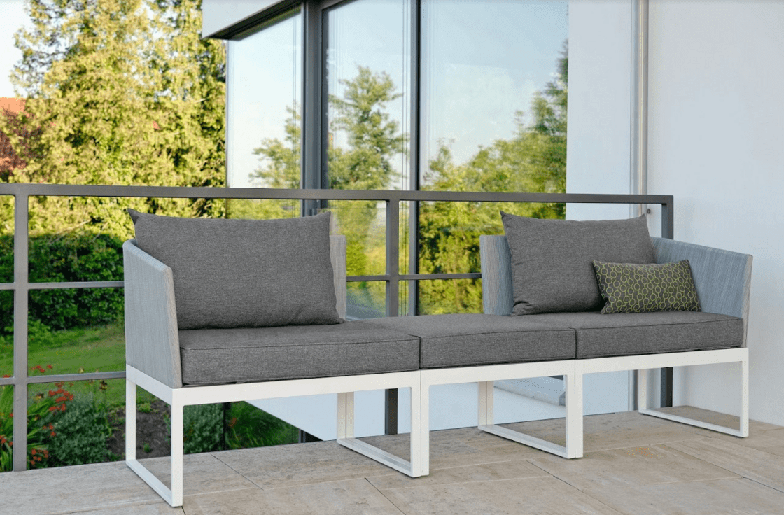 sofa lounger outdoor hooker table modern aluminum textilene 3 seater balcony contract multifuctional chaise lounge chair terrace furniture stock